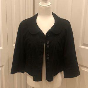 Hinge Crop Black Cotton Jacket